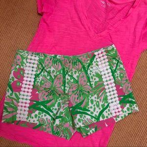 Lilly Pulitzer dark pink/green floral shorts